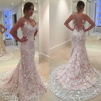 Court Train Hollow-out Lace Evening Dresses  Mermaid Sleeveless Sexy Prom Dress_3
