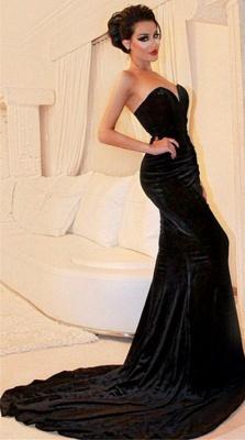 Sexy Black Velvet Prom Dress Sweetheart Mermaid Strapless Evening Dresses BA4542_1