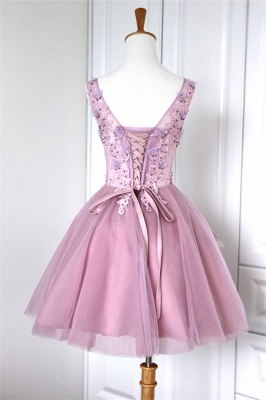V-Neck Applique Beading Homecoming Dresses Tulle Tiered Mini  Cocktail Dresses_2