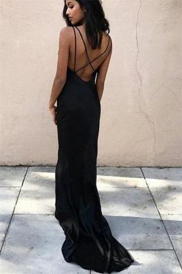 Black V-Neck Sheath Sleeveless Evening Dresses | Simple Criss Cross Prom Dresses_3