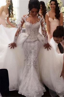 New Arrival Long Sleeves Sheath Wedding Dresses   Lace Appliques Bridal Gowns with Detachable Train_1