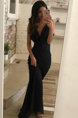Black V-Neck Sheath Sleeveless Evening Dresses | Simple Criss Cross Prom Dresses_1