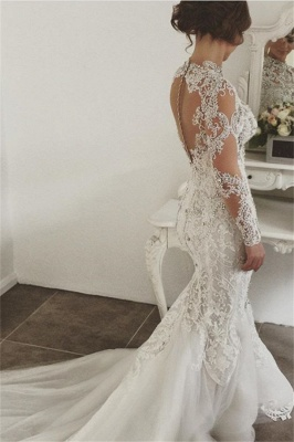 Alluring Beading Wedding Dresses With Buttons Mermaid Long-Sleeves Lace High Neck Crystal Bridal Gowns On Sale_3