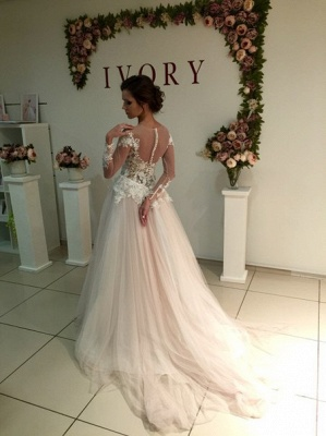 A-Line Long Sleeve Tulle Bridal Gowns Gorgeous Lace Applique Wedding Dresses_3
