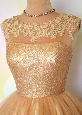Puffy Shiny Gold Cocktail Dress Appliques Sequins Short Homecoming Dresses  BA8553_4