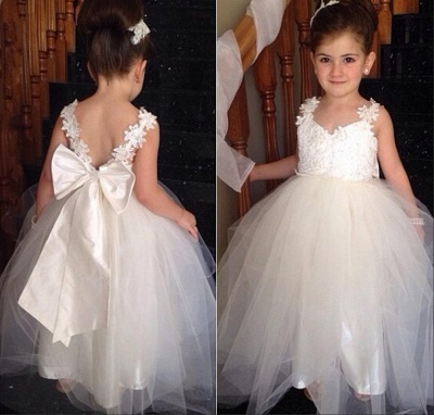 Cute Tulle Lace Applique  Flower Girl Dresses Backless Long Bowknot Children Gowns BO8533_1