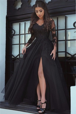 Long Sleeve Lace Appliques Evening Dress Front Slit  Formal Dress FB0030_1