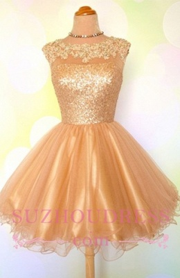 Puffy Shiny Gold Cocktail Dress Appliques Sequins Short Homecoming Dresses  BA8553_1