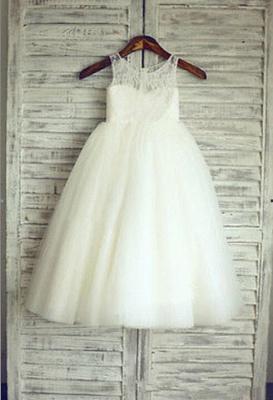 Lace Short Sleeve  Flower Girl Dress A-Line Tulle Sleeve Wedding Dress BO9154_1