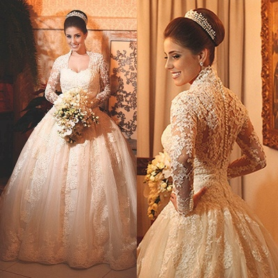 Princee Ball Gown Wedding Dress  Long Sleeve Lace Bridal Gowns_3