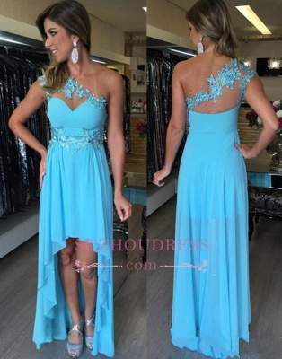Applique Chiffon Sleeveless Hi-Lo Evening Dresses  One-Shoulder Empire Prom Dresses BA7389_1
