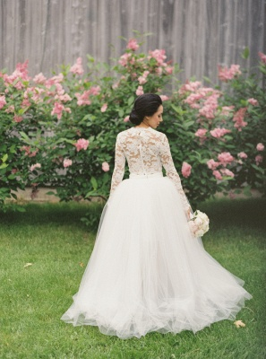 Vintage A-line Tulle Long Sleeve Bridal Gowns New Arrival Lace Sweep Train Wedding Dress_2