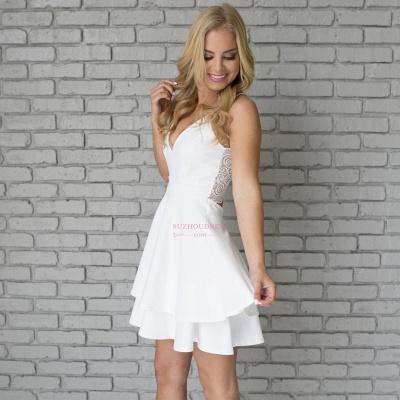 Cute Mini Spaghetti Strap Sleeveless White Lace Homecoming Dress  BA6828_5