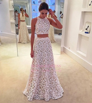 Simple Lace White Two Pieces Evening Gowns  A-line Sleeveless Prom Dress_1