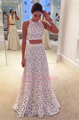 Simple Lace White Two Pieces Evening Gowns  A-line Sleeveless Prom Dress_2