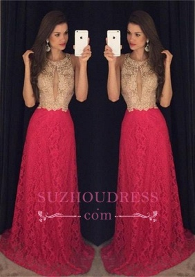 Long Jewel Sleeveless Hot Pink Evening Gown  Sweep-Train Newest Lace Prom Dress GA090_2