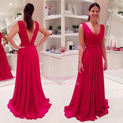 Long Chiffon Red Evening Dresses  Bowknot Sleeveless V-neck Prom Dresses_1