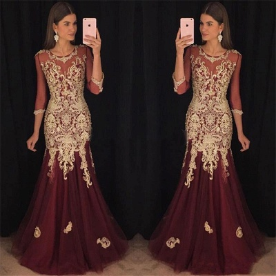 Long Sleeve Burgundy Tulle Evening Dress with Gold Lace Appliques Mermaid Prom Dress Sexy_3