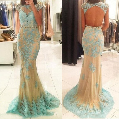 Sexy Backless Cap Sleeves  Prom Dresses Lace Sheath Champagne Tulle Sexy Evening Gown_3