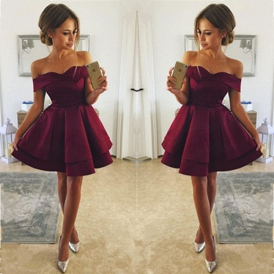 Simple Burgundy Short Homecoming Dresses  | Off Shoulder A-Line Hoco Dresses_3