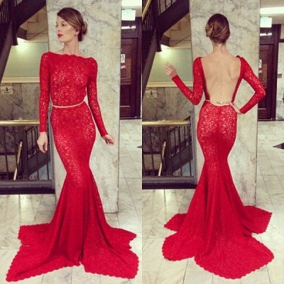 New Arrival Red Lace Prom Dresses Long Sleeve Backless Mermaid Bateau Court Train Evening Gowns_2
