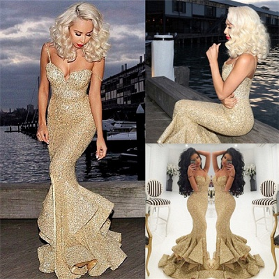 Gold Sequins Mermaid Evening Dress  Sexy Sweetheart Mermaid Prom Dress with Split_3