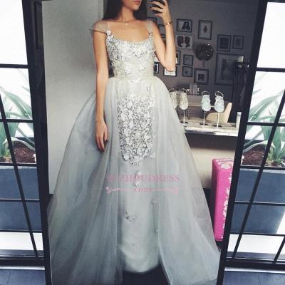 Elegant A-Line Scoop Tulle Cap-Sleeves Appliques Prom Dress_1