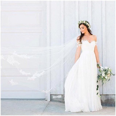 Off The Shoulder Lace Sweetheart Beach Wedding Dress   Chiffon Summer Outdoor Bridal Gowns BA3769_5