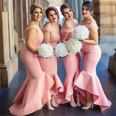 Off The Shoulder V-neck Lace Bridesmaid Dresses   Puffy Bottom Hi-lo Formal Dress_3