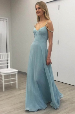 Baby Blue Chiffon Evening Dress Crystals Straps Floor Length Open Back  Bridesmaid Dress_1