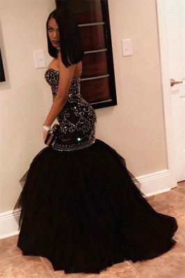 Sexy Sweetheart Beads Prom Dresses  | Mermaid Black Sequins  Evening Gown FB0275_3