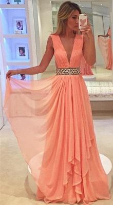 Deep V-neck Coral Chiffon Formal Evening Dresses  Beaded Belt Prom Dress_1