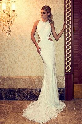 Halter Crystals Beadings Wedding Dresses  Mermaid Sweep Train Open Back Bridal Gowns SZSM236_3