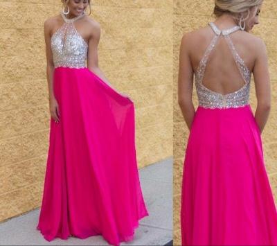 Sexy Crystal Halter Chiffon Evening Dress Latest Sleeveless Long Popular Prom Dress BA3430_2
