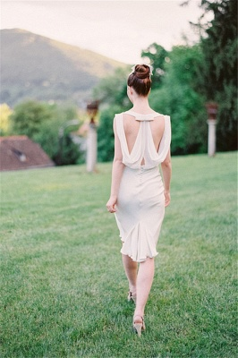 Vintage Wedding Short Bridesmaid Dresses  Chiffon Hollow Back Wedding Reception Dress_1