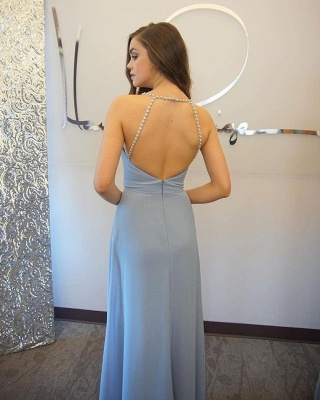 Baby Blue Chiffon Evening Dress Crystals Straps Floor Length Open Back  Bridesmaid Dress_3