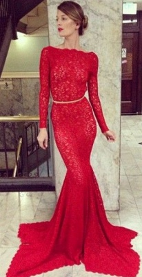 New Arrival Red Lace Prom Dresses Long Sleeve Backless Mermaid Bateau Court Train Evening Gowns_1