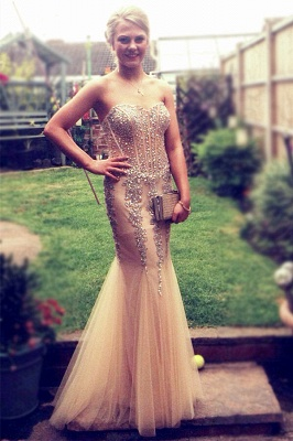 Popular Mermaid Champagne Prom Dresses Beading Sequins Corset Evening Dress_1