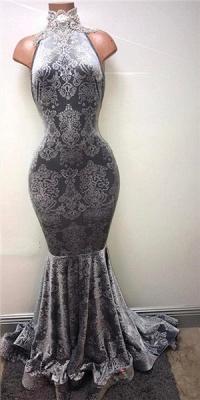 Lace High Neck Mermaid Prom Dresses   Sleeveless Floor Length Evening Dresses BA8233_1