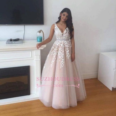 Lace V-Neck Tulle Appliques Evening Gowns  Gorgeous Prom Dress  BA4883_1