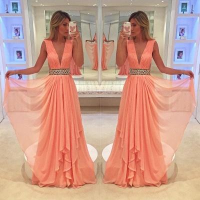 Deep V-neck Coral Chiffon Formal Evening Dresses  Beaded Belt Prom Dress_3