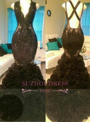 Appliques V-Neck  Tulle Glamorous Black Mermaid Open-Back Prom Dress_2