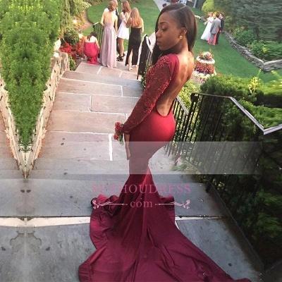 Burgundy Sweep Train  Evening Dress Appliques Mermaid Long-Sleeve Stunning Prom Dress_1