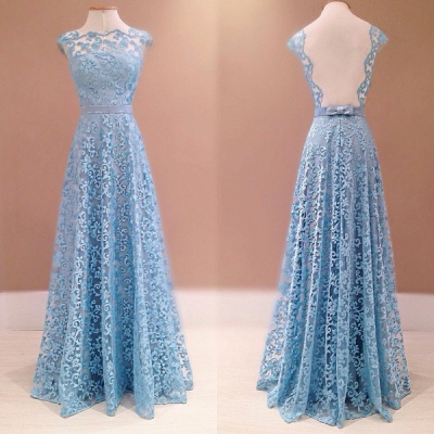 Blue Lace A-Line Backless Evening Dress  New Style  Prom Dress with Bowknot Sash_2