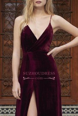 Sexy A-line Spaghettis Straps Burgundy Formal Dresses Velvet Side Slit Evening Dress_3