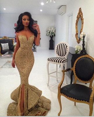 Gold Sequins Mermaid Evening Dress  Sexy Sweetheart Mermaid Prom Dress with Split_2