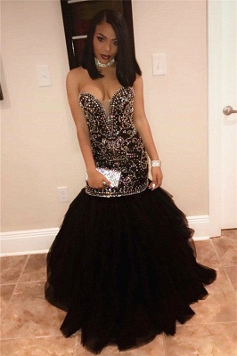 Sexy Sweetheart Beads Prom Dresses  | Mermaid Black Sequins  Evening Gown FB0275_4
