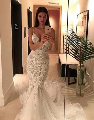 Charming Spaghetti-Strap Mermaid Wedding  Dress Lace Zipper Button Tulle Bridal Gowns_2