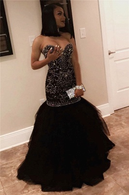 Sexy Sweetheart Beads Prom Dresses  | Mermaid Black Sequins  Evening Gown FB0275_1