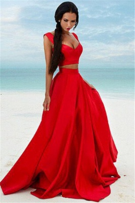 Sexy Two Piece Red Formal Dresses   Sleeveless Evening Gown BA7932_1
